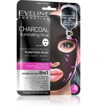 Eveline Sheet Mask Charcoal Fabric Mask 8in1 Cleansing Moisturizing 1 piece