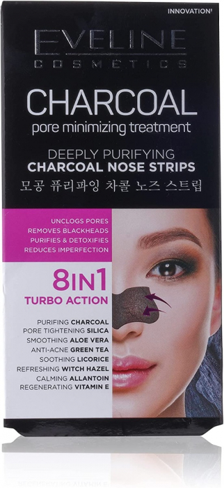 Eveline Charcoal Deeply Purifying Pore Minimizing Nose Strips (4Pcs)
