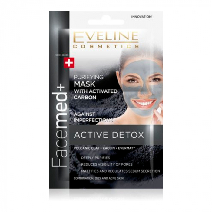 EVELINE FACEMED PURIFYING FACE MASK WITH ACTIVATED CARBON 2X5ML