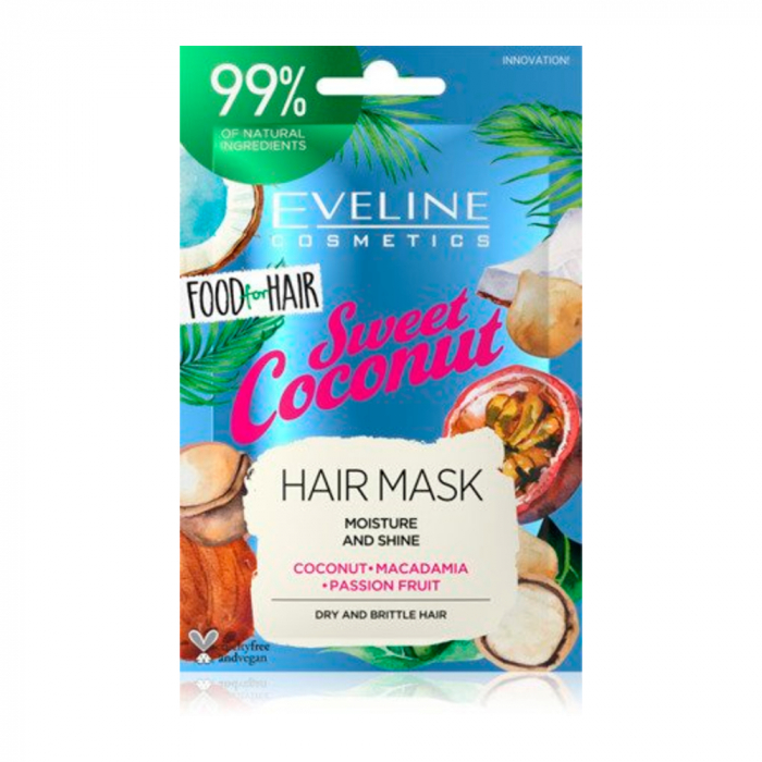 Eveline Food For Hair Sweet Coconut Care Hair Mask Moisture And Shine 20ml