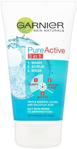 Garnier Pure Active 3 in 1 Wash, Scrub & Mask