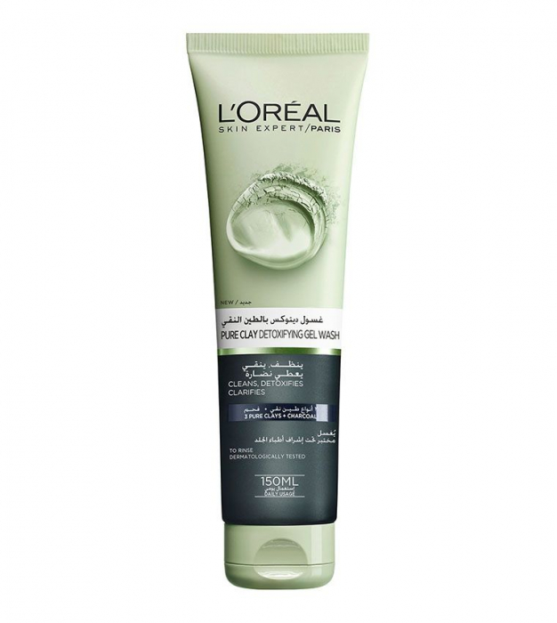 L'Oreal Paris Pure Clay Black Face Cleanser with Charcoal, Detoxifies & Clarifies, 150 ML