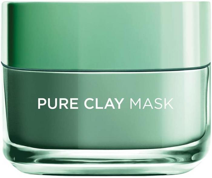 L'Oreal Paris Pure Clay Green Face Mask with Eucalyptus, Purifies and Mattifies, 50ml