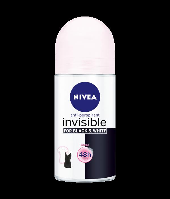 NIVEA Deodorant INVISIBLE Femal BLACK & WHITE CLEAR ROLL-ON