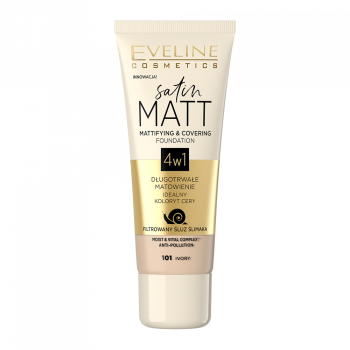 EVELINE SATIN MATT MATTIFYING AND COVERING FOUNDATION WITH SNAIL SLIME FILTRATE